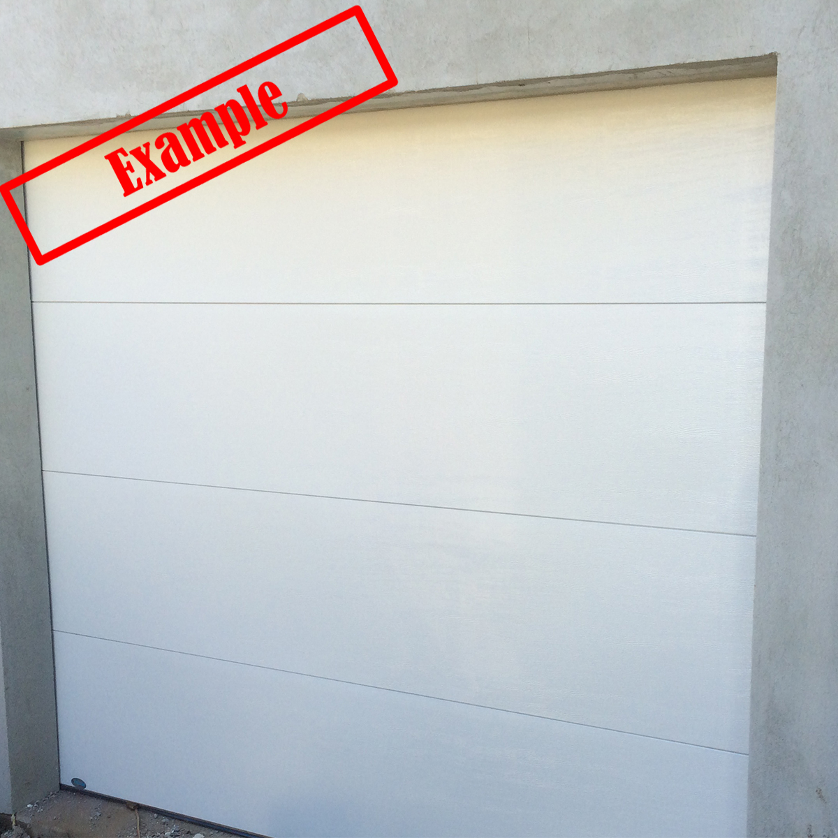 Ara insulated sectional panel garage door surfmist color for Garage door colors