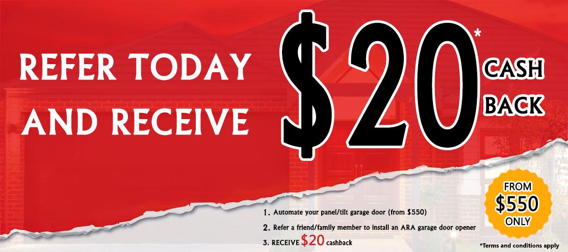 $20 cashback on tilt garage door openers