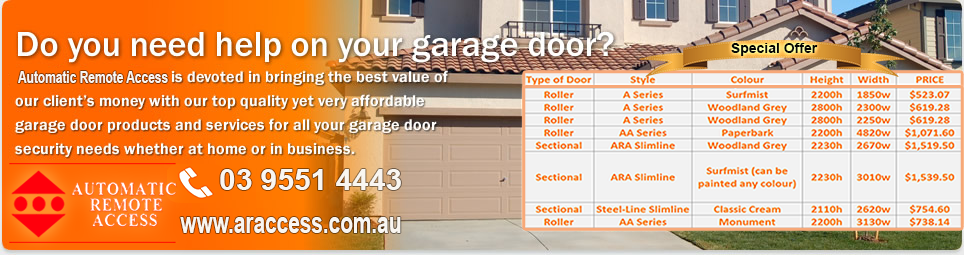 Cheap Residential Garage Doors Melbourne Automatic Remote Access