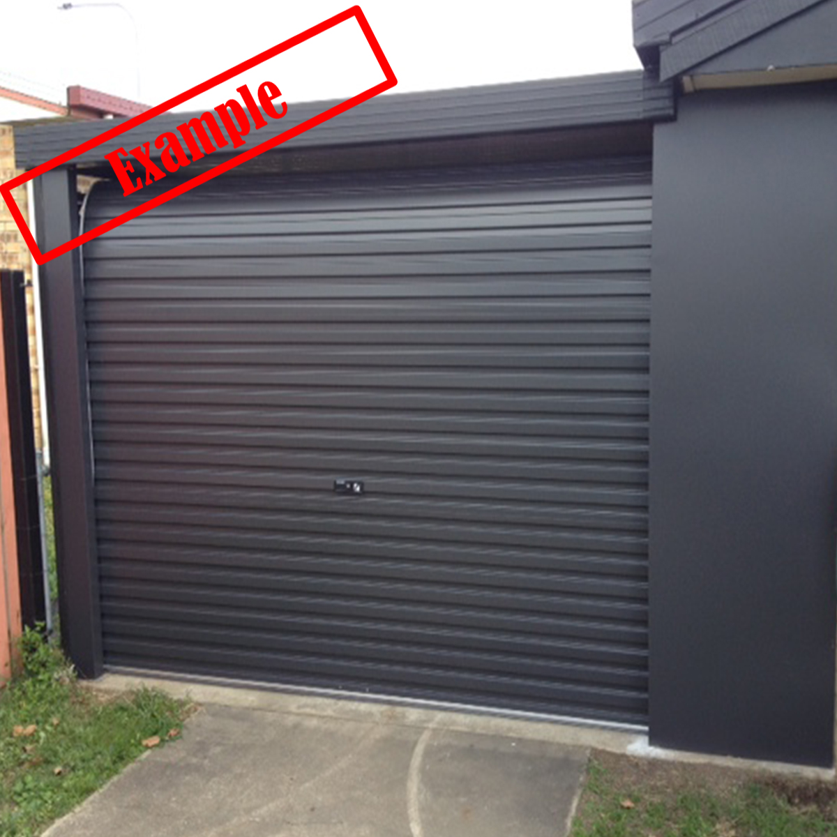 A Series Steel Line Garage Roller Door Monument Colour 2400mm X