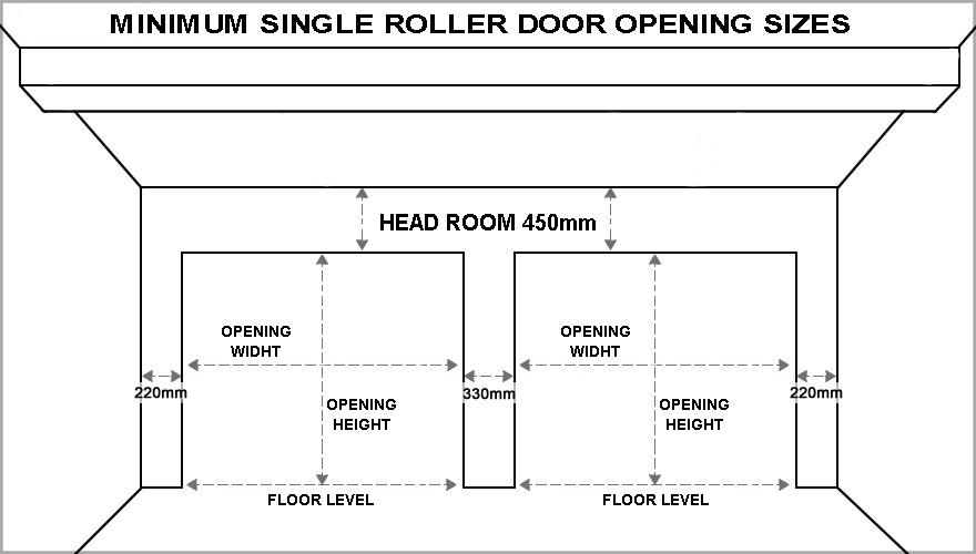 Standard garage door sizes single double roller doors for Overhead garage door sizes