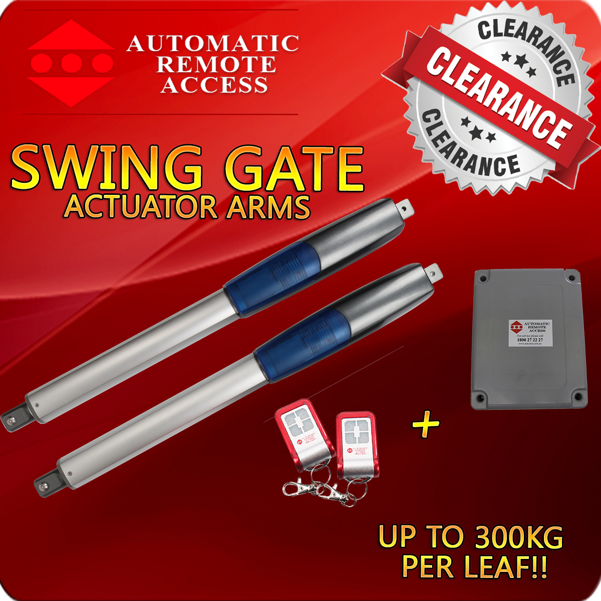 Actuator Driven Swing Gate Opener, 2 x Remotes and 1 x Control Box