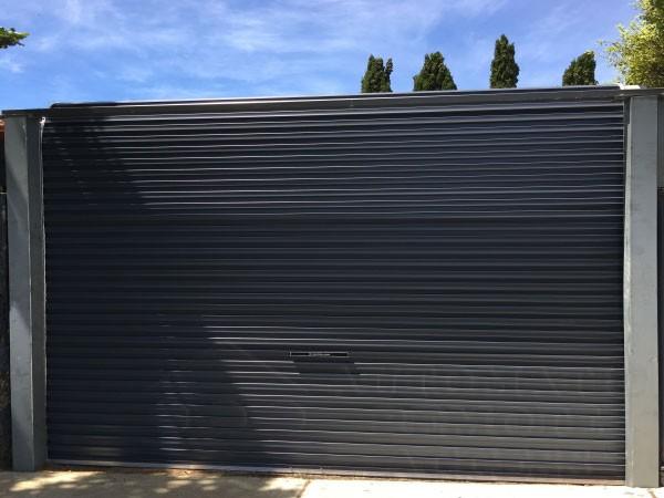 A series monument free standing rolling garage door